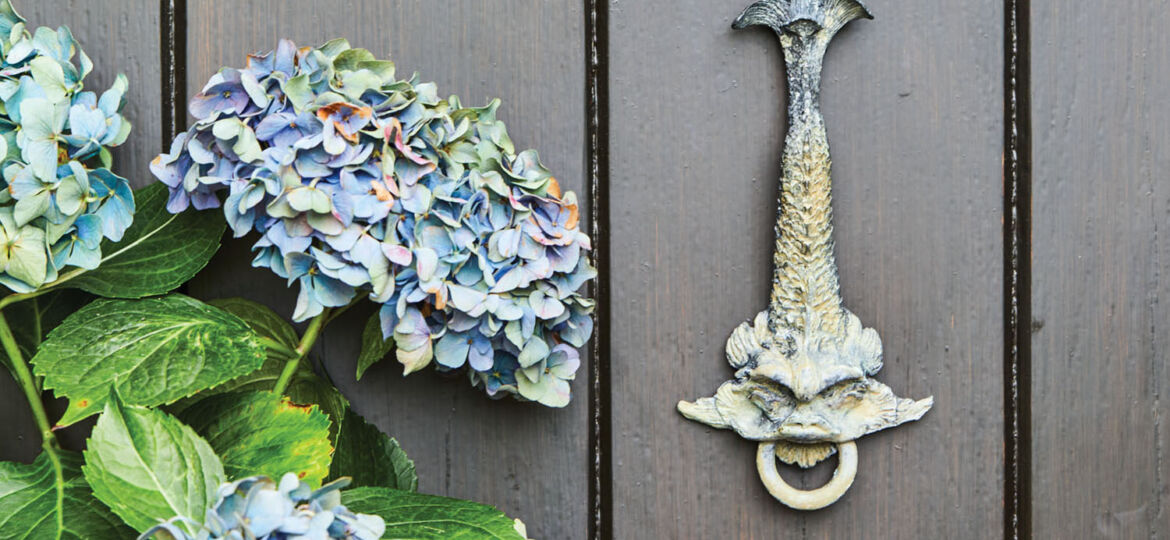 Agatha Studio brass door knocker by artist Patty B. Driscoll. Depicting a Regency dolphin, the knocker is mounted on a black tongue-and-groove wooden door, photographed with blue hydrangea flowers