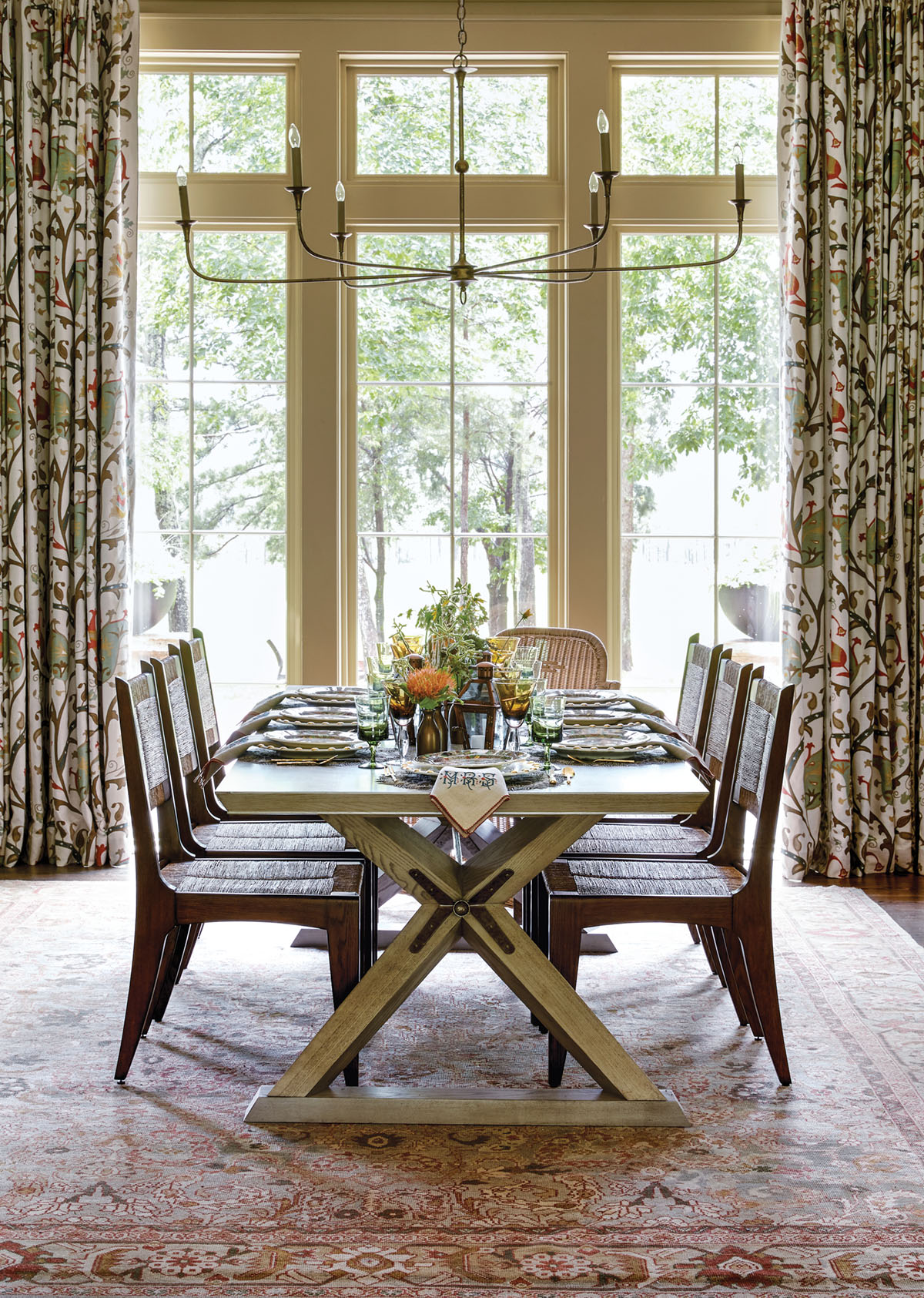dining table and chairs, Flower magazine showhouse at Brierfield