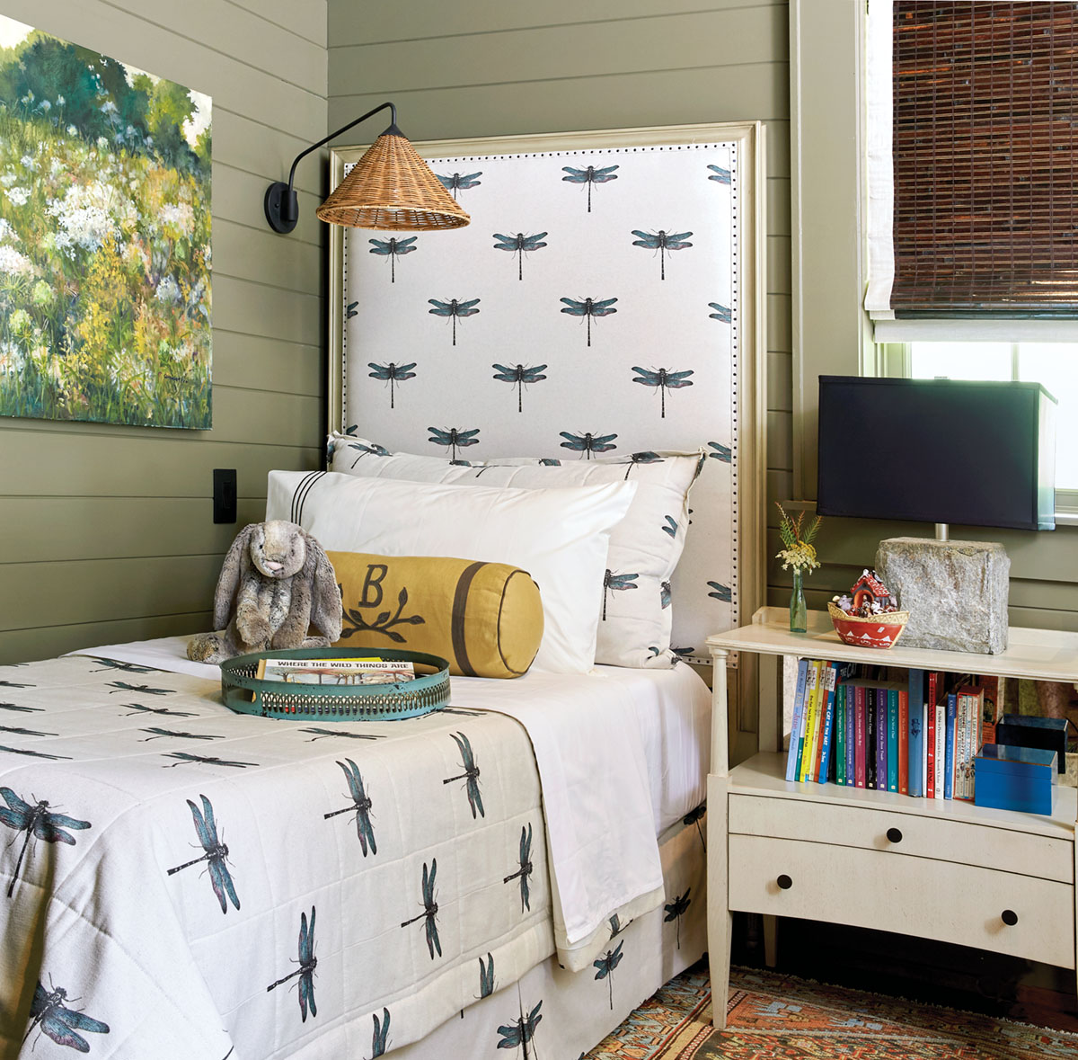 children's room, twin bed, Flower magazine showhouse at Brierfield