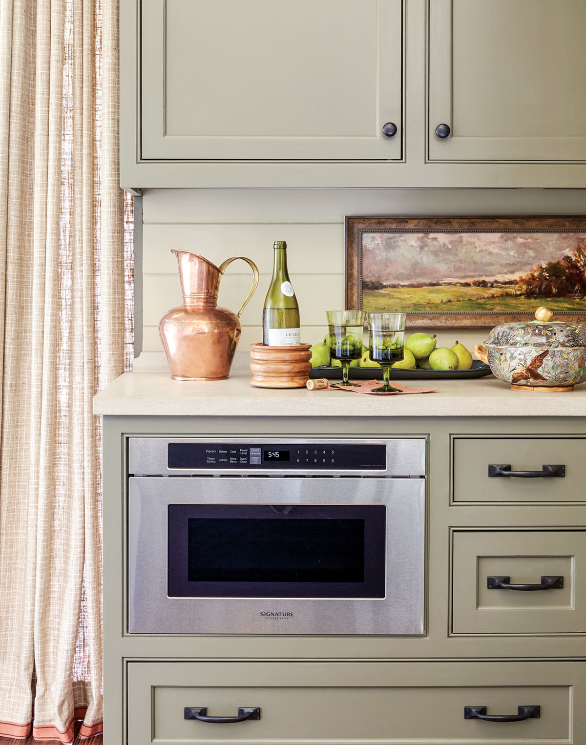 built-in microwave in lower cabinets