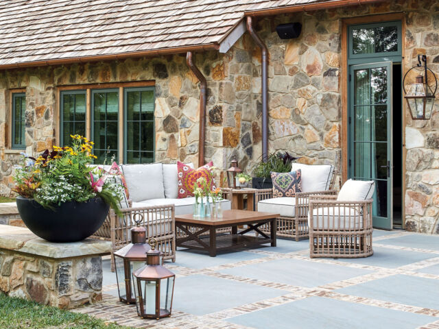 stone patio, outdoor seating, Flower magazine showhouse