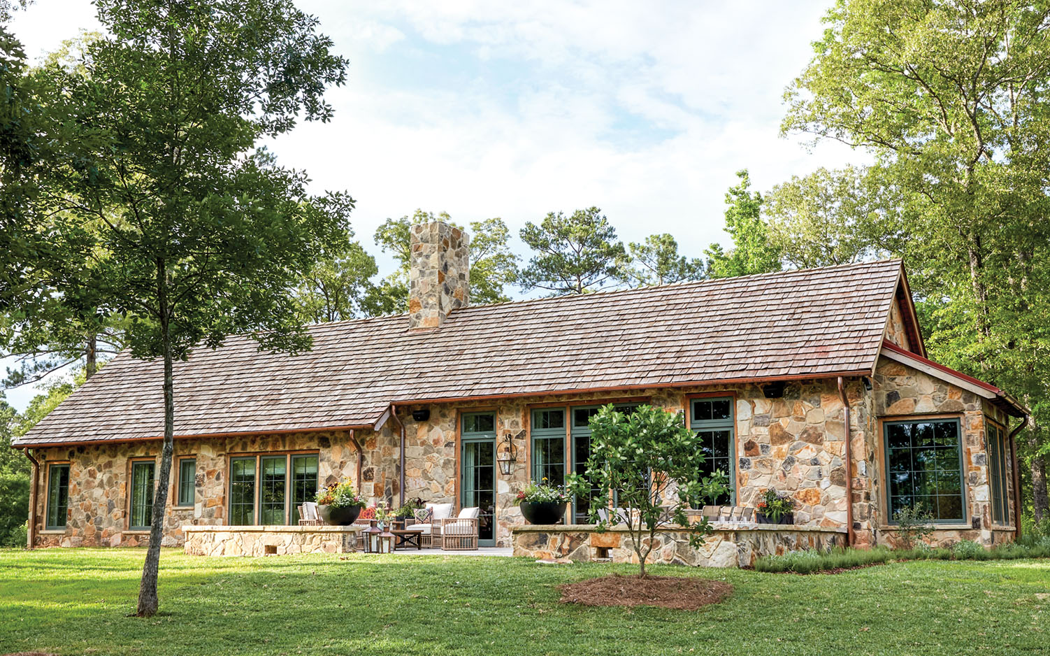 stone farmhouse, Flower magazine showhouse