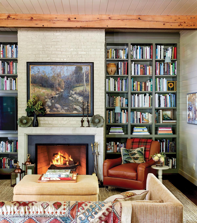 bookshelves, fireplace, living room