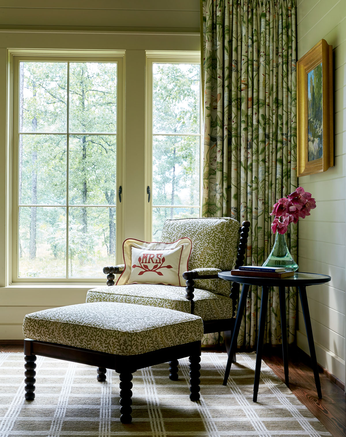 main bedroom sitting area, chair and ottoman, Flower magazine showhouse at Brierfield