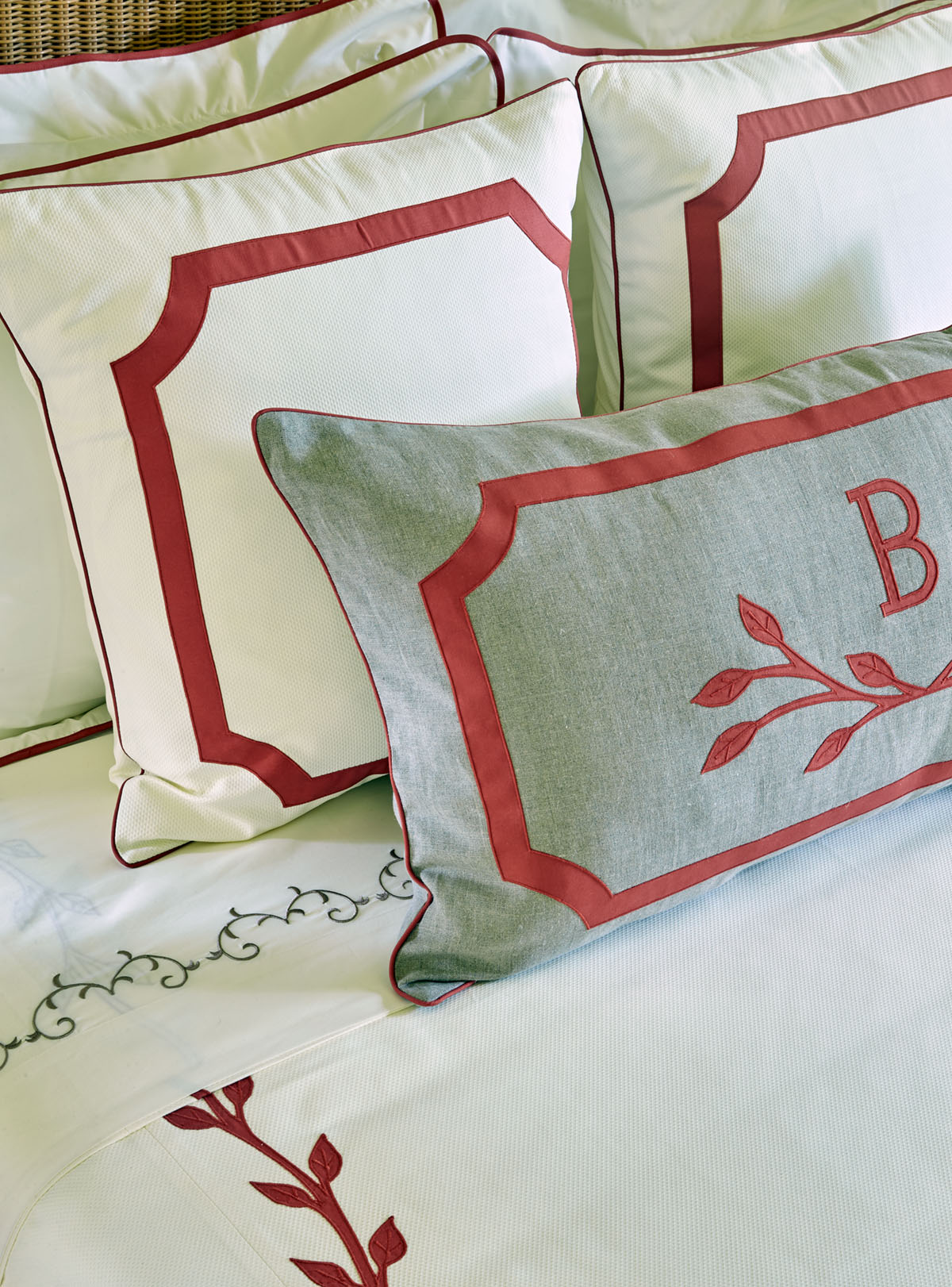 monographed decorative pillows, Flower magazine showhouse at Brierfield