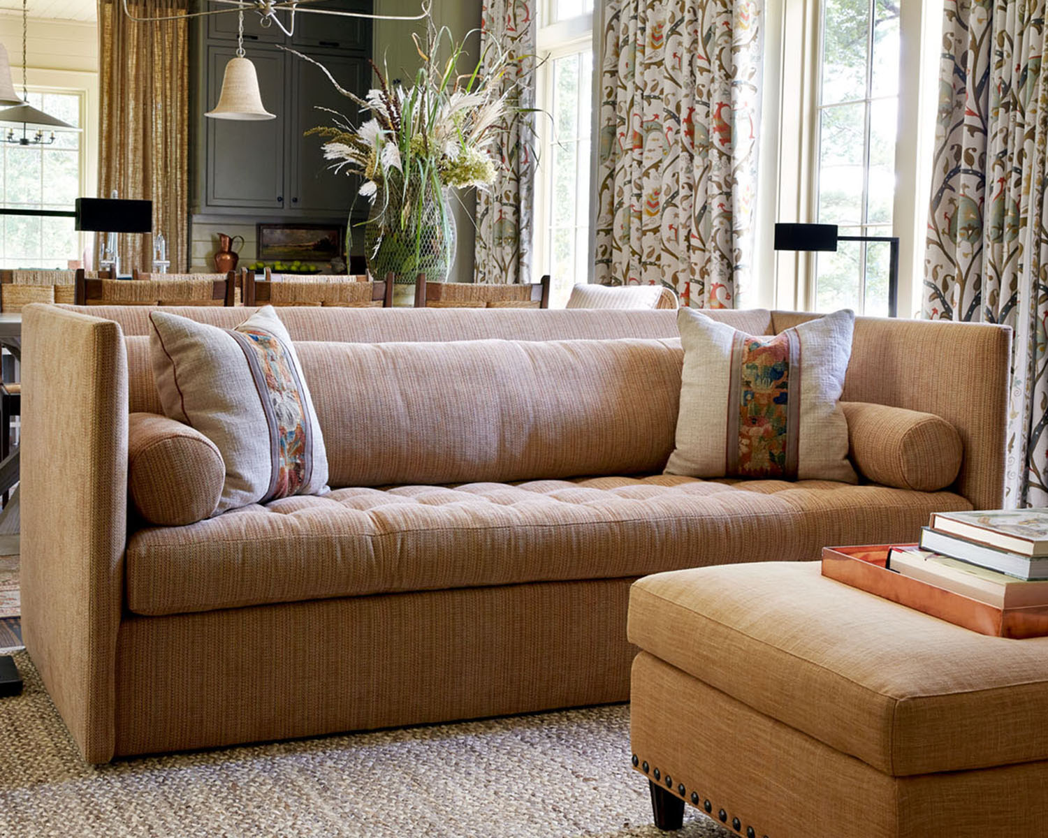 sofa, with view of the dining areas and kitchen beyond, Flower magazine showhouse at Brierfield