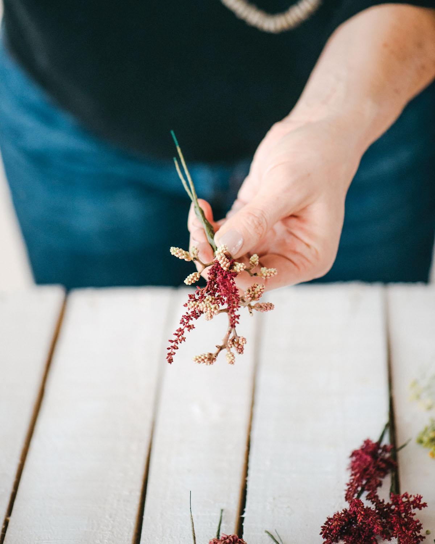 how to make a floral cuff bracelet - step 5 A - rose sumac