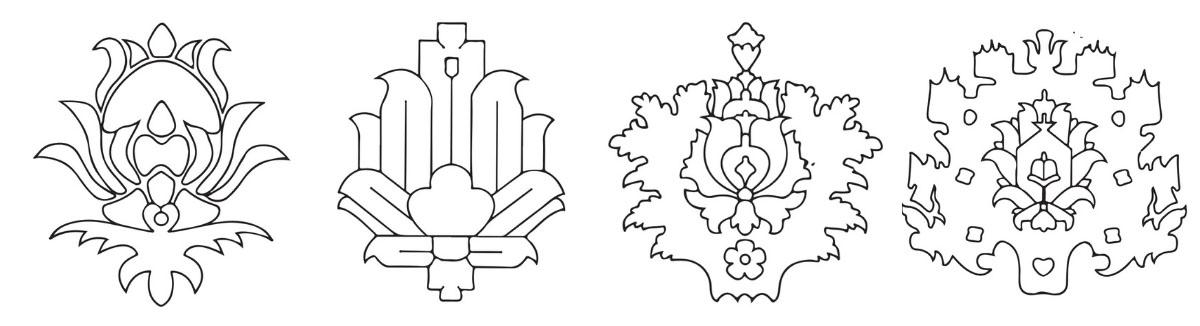 Black and white illustrations of 4 palmette rug pattern motifs