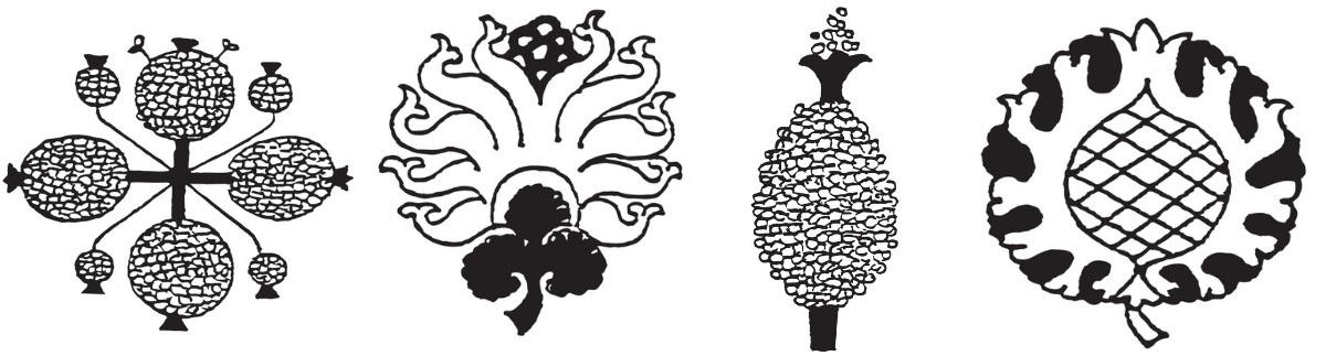 4 pomegranate motifs