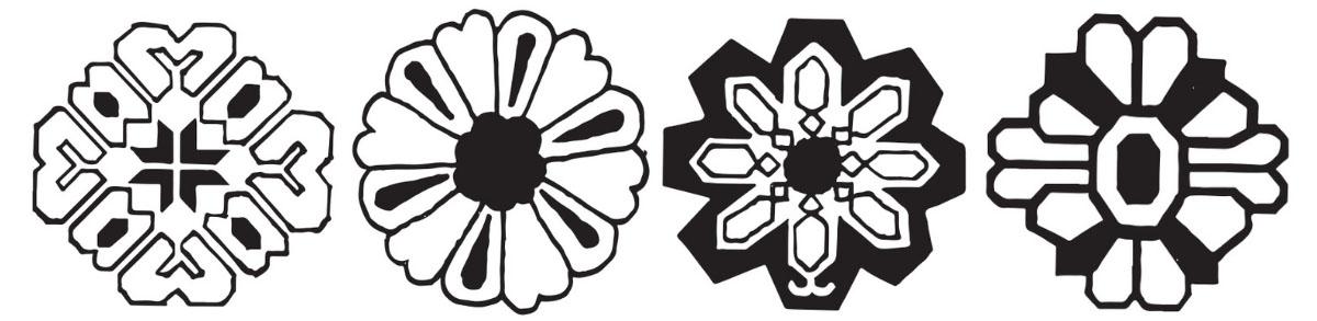 Black and white illustrations of 4 rosette rug pattern motifs