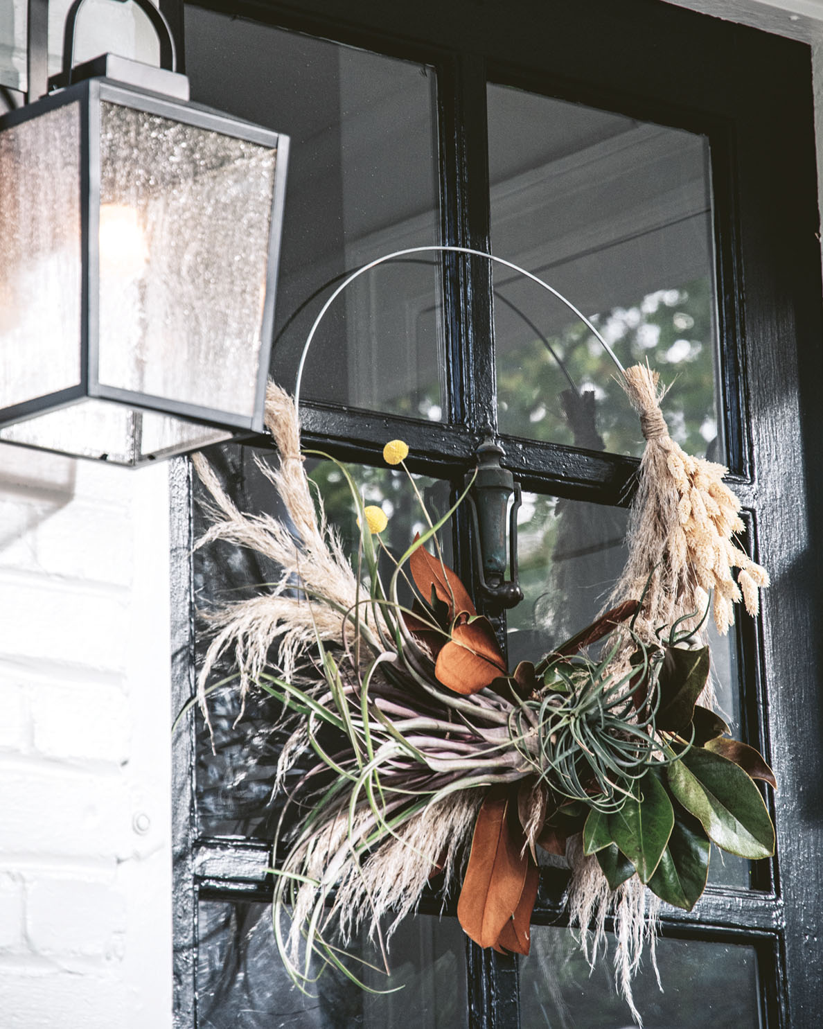 Air plant wreath hanging on a French door painted glossy black