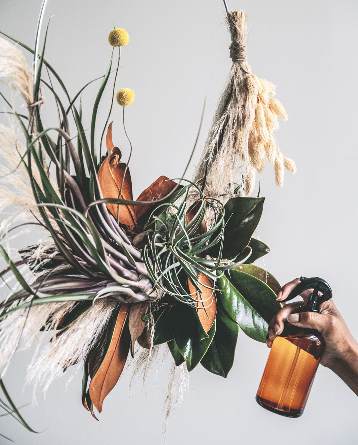 air plant wreath how-to step 10, misting