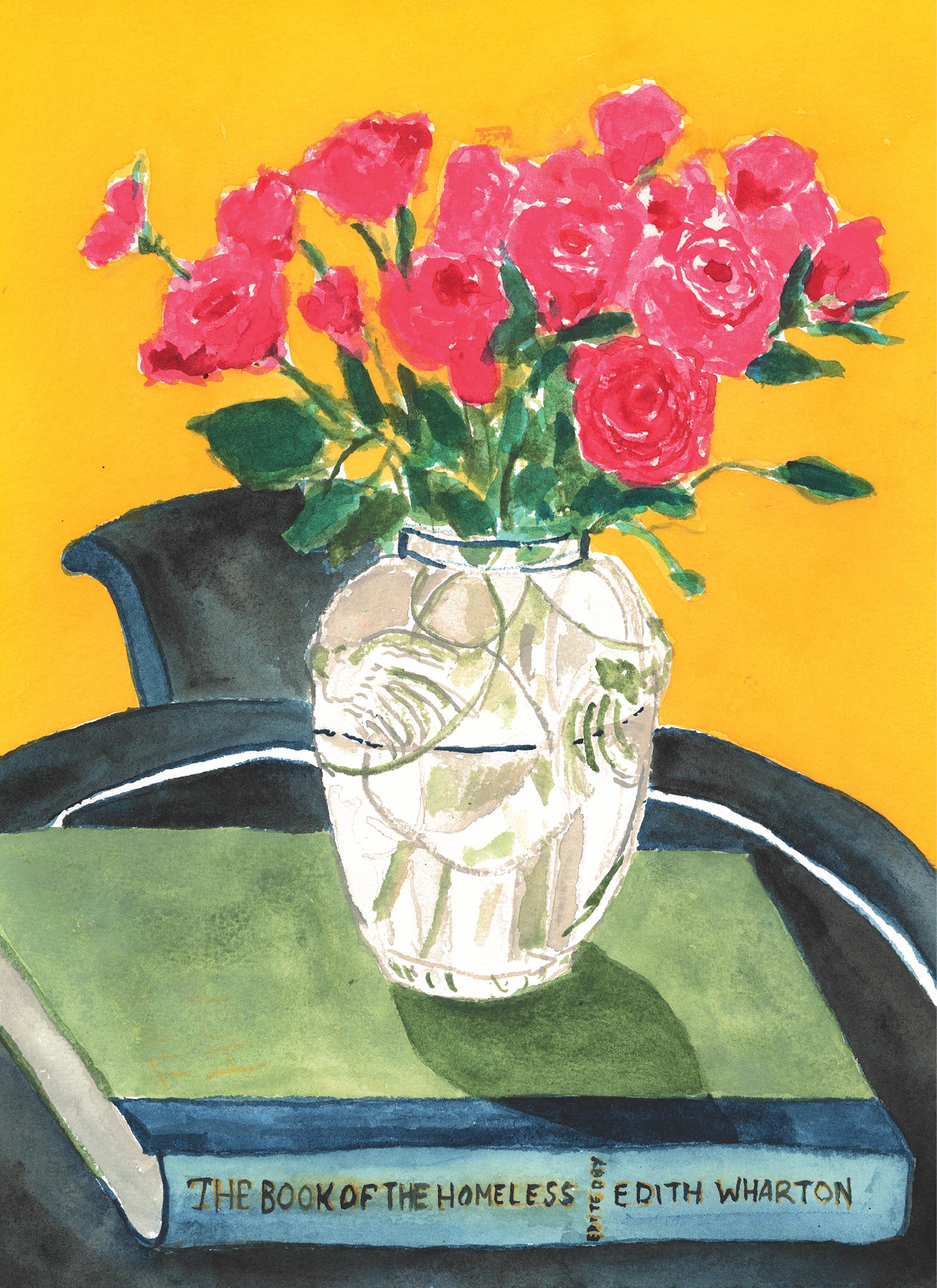 Deco Vase of Roses (Edith Wharton), 2020. Gouache on Arches Paper